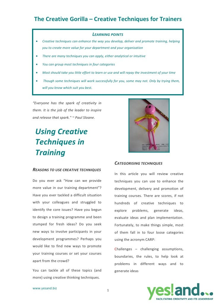 The Creative Gorilla – Creative Techniques for Trainers                                            LEARNING POINTS   •   C...