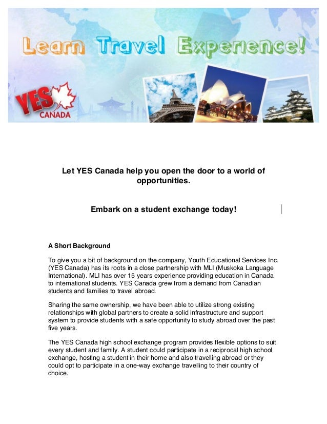 Yes Canada Student Exchange Program Information