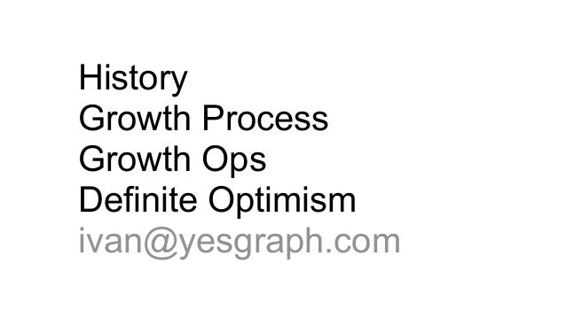 History Growth Process Growth Ops Definite Optimism ivan@yesgraph.com