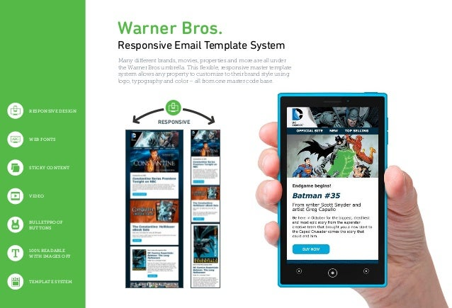 RESPONSIVE 100% READABLE WITH IMAGES OFF BULLETPROOF BUTTONS VIDEO STICKY CONTENT WEB FONTSABC TEMPLATE SYSTEM Warner Bros...