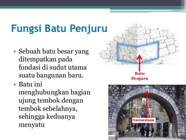 • Sebuah batu besar yang ditempatkan pada fondasi di sudut utama suatu bangunan baru. • Batu ini menghubungkan bagian ujun...