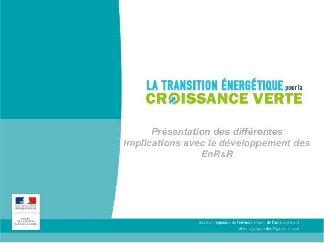Présentation des différentes  implications avec le développement des  EnR&R