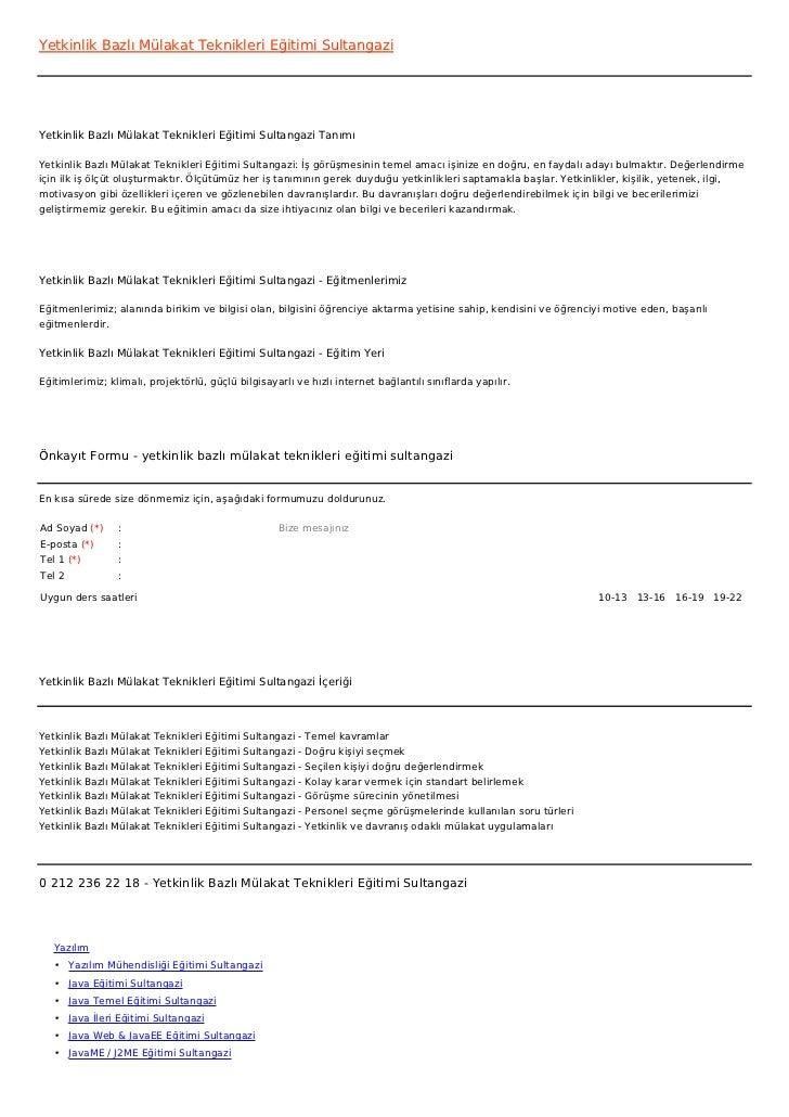 Yetkinlik Bazlı Mülakat Teknikleri Eğitimi SultangaziYetkinlik Bazlı Mülakat Teknikleri Eğitimi Sultangazi TanımıYetkinlik...