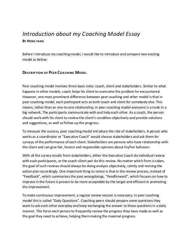 Model Essay Coaching Model Essay Writing An Essay About Your Role  Coaching Model Essay Introduction About My Coaching Model Essay By Hong