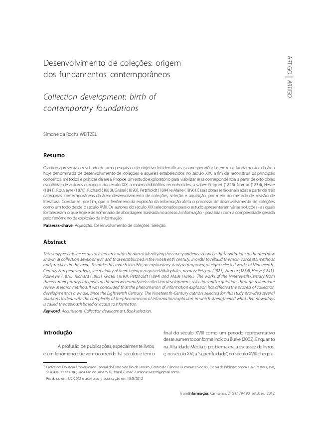 DESENVOLVIMENTODECOLEÇÕES 179 TransInformação, Campinas, 24(3):179-190, set./dez., 2012 ARTIGOARTIGO 1 Professora Doutora,...