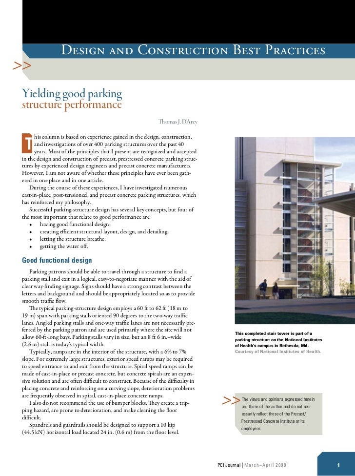 Design and Construction Best PracticesYielding good parkingstructure performance                                          ...
