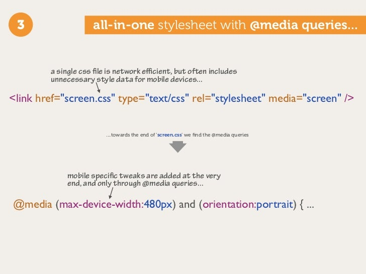 3                  all-in-one stylesheet with @media queries...           a single css file is network efficient, but often i...
