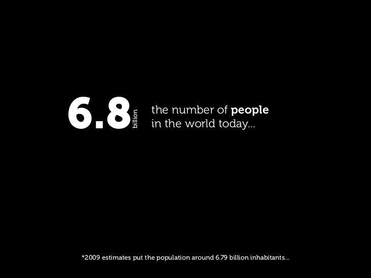 6.8             billion                           the number of people                           in the world today...    ...