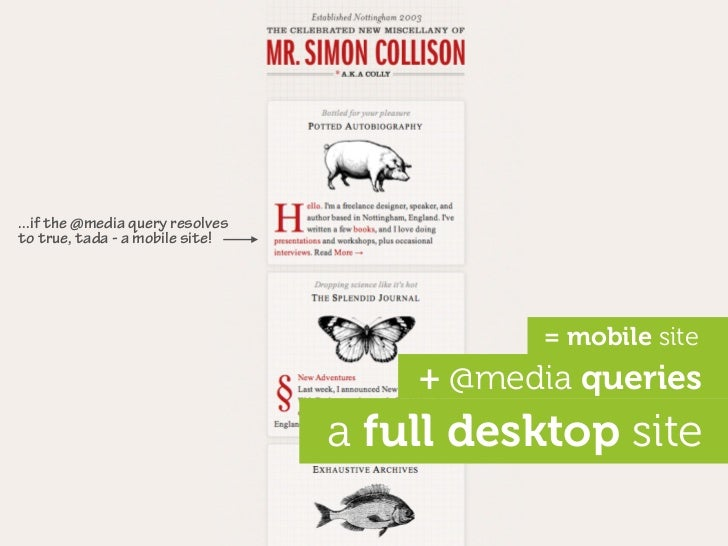 ...if the @media query resolves to true, tada - a mobile site!                                                  = mobile s...