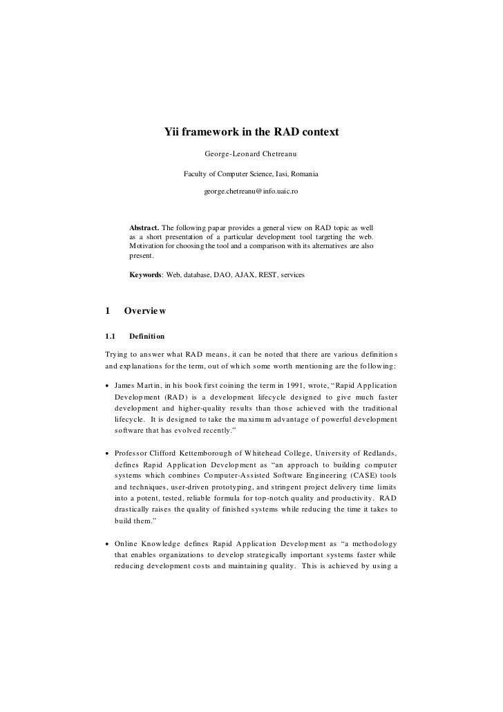Yii framework in the RAD context                                George-Leonard Chetreanu                         Faculty o...