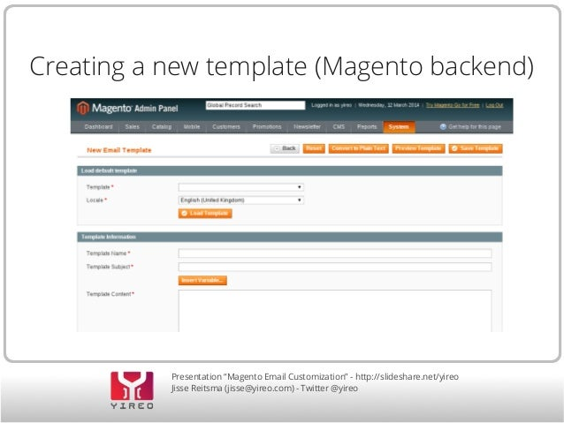 Customizing Magento email templates