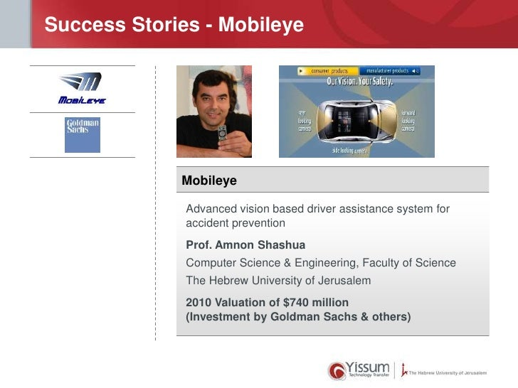 Success Stories - Mobileye             Mobileye              Advanced vision based driver assistance system for           ...