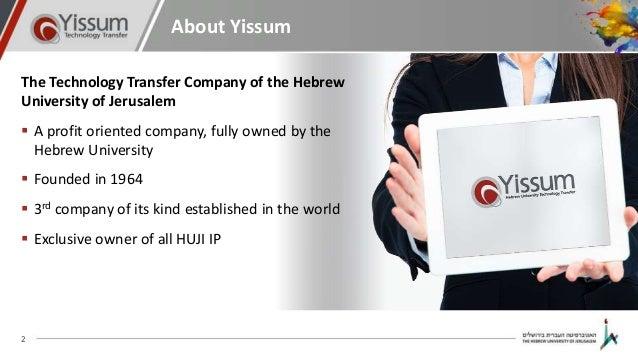 Yissum presentation - June 2016 Slide 2
