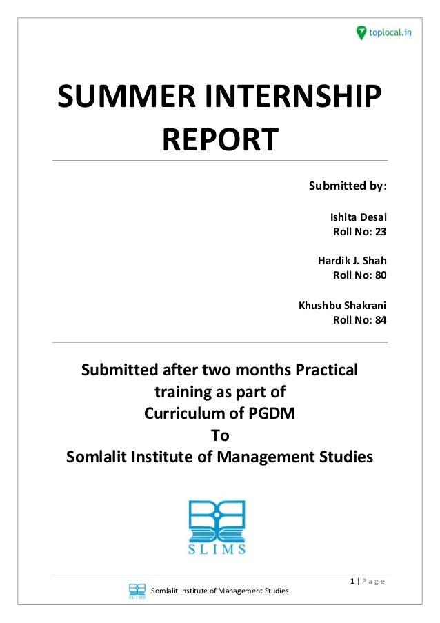 Internship report on organization study of