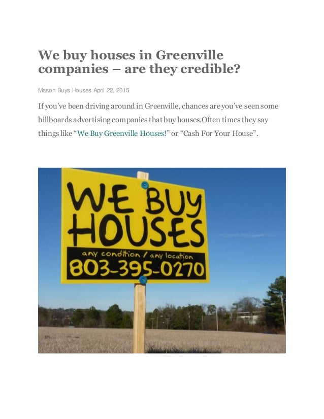 We buy houses in Greenville companies – are they credible?