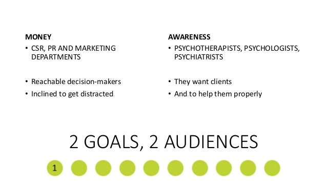 2 GOALS, 2 AUDIENCES MONEY • CSR, PR AND MARKETING DEPARTMENTS • Reachable decision-makers • Inclined to get distracted AW...
