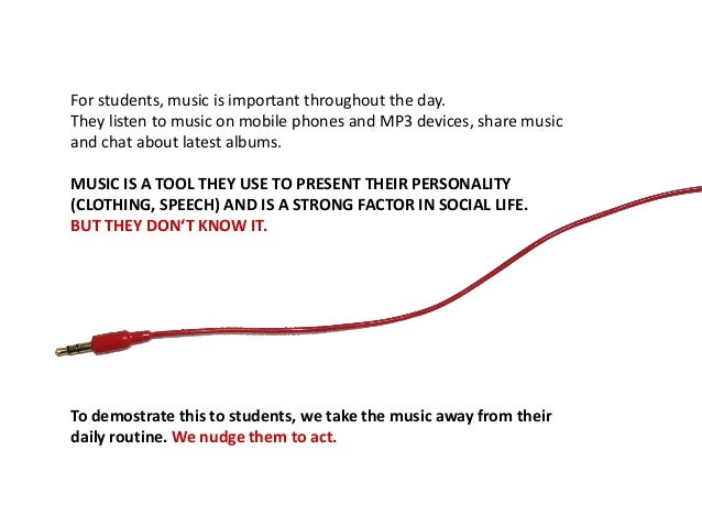 For students, music is important throughout the day. They listen to music on mobile phones and MP3 devices, share music an...