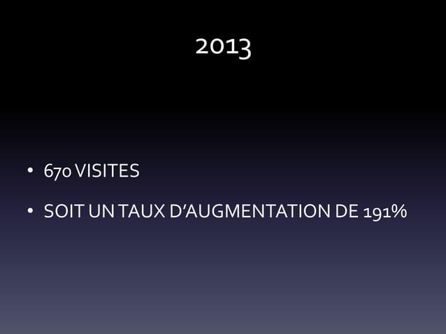 2013  • 670 VISITES • SOIT UN TAUX D'AUGMENTATION DE 191%