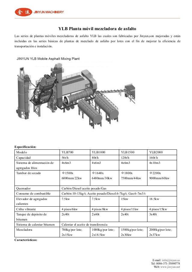 E-mail: info@jinyun.us Tel: 0086-371-55090778 Web: www.jin-yun.net YLB Planta móvil mezcladora de asfalto Las series de pl...