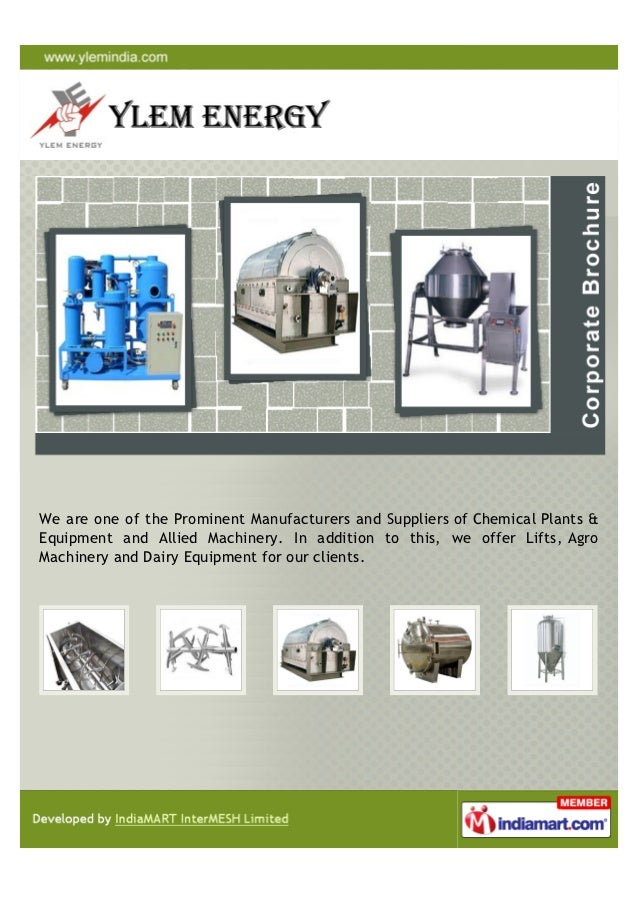 We are one of the Prominent Manufacturers and Suppliers of Chemical Plants &Equipment and Allied Machinery. In addition to...