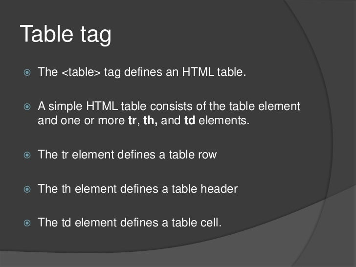 Table tag<br />The <table> tag defines an HTML table.<br />A simple HTML table consists of the table element and one or mo...