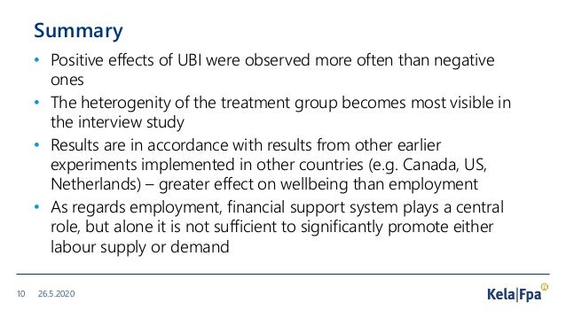 Summary • Positive effects of UBI were observed more often than negative ones • The heterogenity of the treatment group be...