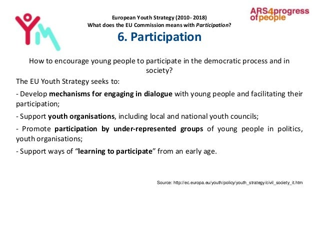 European Youth Strategy (2010- 2018) What does the EU Commission means with Participation? 6. Participation How to encoura...