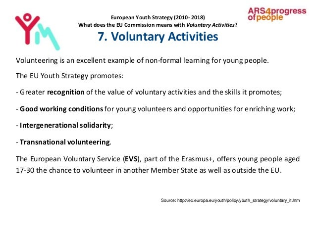 European Youth Strategy (2010- 2018) What does the EU Commission means with Voluntary Activities? 7. Voluntary Activities ...