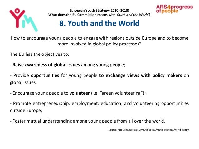European Youth Strategy (2010- 2018) What does the EU Commission means with Youth and the World? 8. Youth and the World Ho...