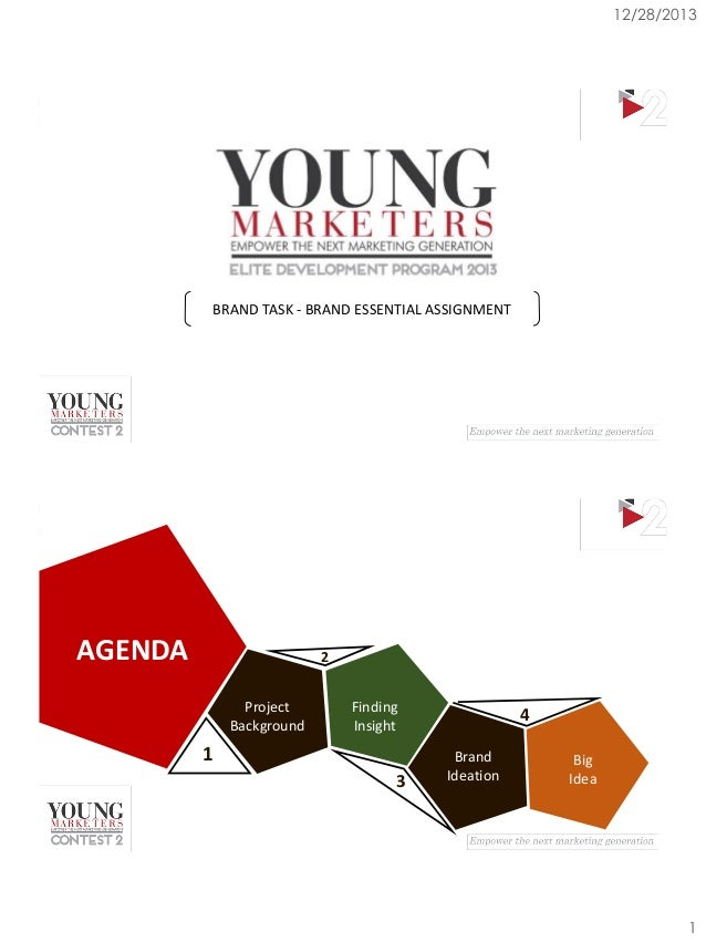 12/28/2013  BRAND TASK - BRAND ESSENTIAL ASSIGNMENT  AGENDA  2 Project Background  Finding Insight  1 3  4 Brand Ideation ...