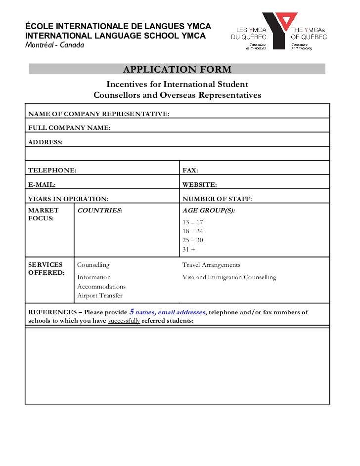 Ymca agent application-form