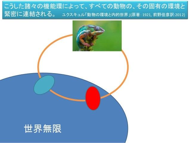 世界無限 こうした諸々の機能環によって、すべての動物の、その固有の環境と 緊密に連結される。 ユクスキュル「動物の環境と内的世界」(原著:1921, 前野佳彦訳:2012)