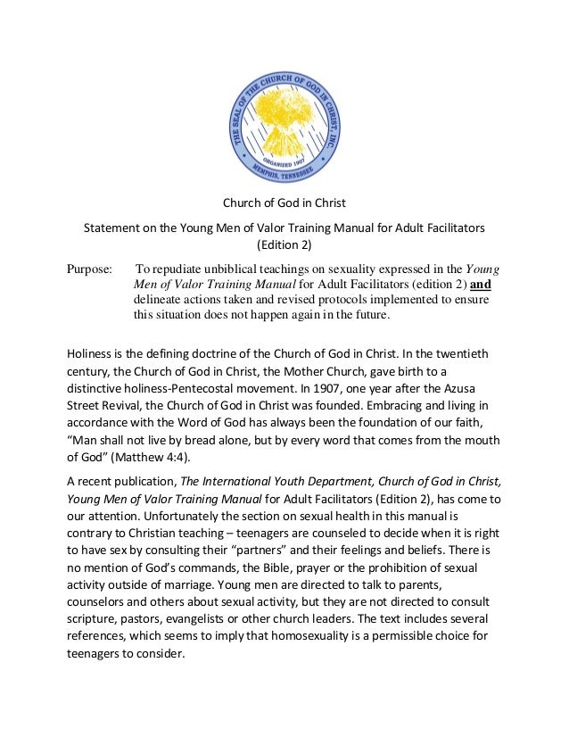 COGIC Young Men Of Valor Training Manual Statement