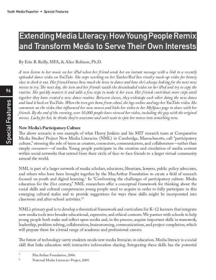 Youth Media Reporter • Special Features                   Extending Media Literacy: How Young People Remix                ...