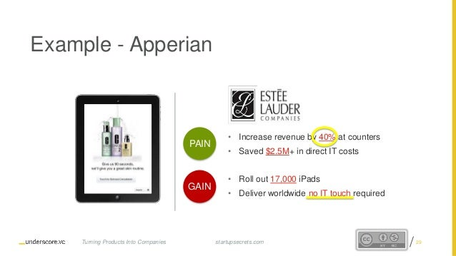 Proprietary and Confidential Example - Apperian • Increase revenue by 40% at counters • Saved $2.5M+ in direct IT costs • ...