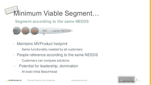 Proprietary and Confidential Minimum Viable Segment…  Maintains MVProduct footprint • Same functionality needed by all cu...