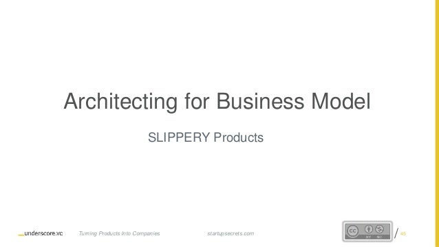 Proprietary and Confidential Architecting for Business Model SLIPPERY Products startupsecrets.comTurning Products Into Com...