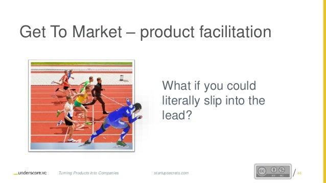 Proprietary and Confidential Get To Market – product facilitation What if you could literally slip into the lead? startups...