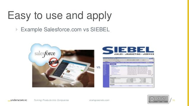 Proprietary and Confidential  Example Salesforce.com vs SIEBEL VS. Easy to use and apply startupsecrets.comTurning Produc...