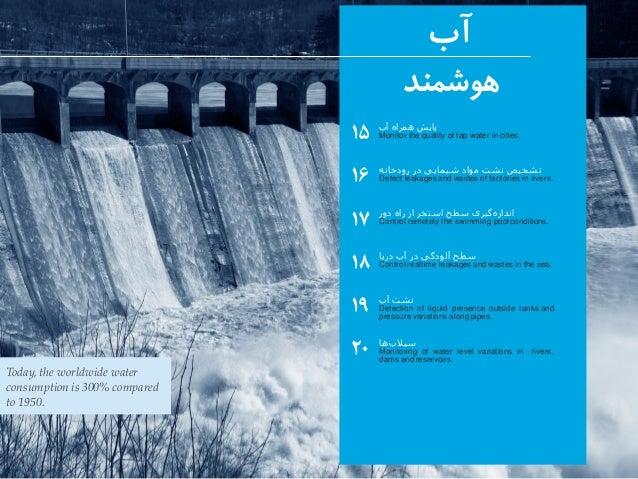 آب هوشمند ۱۵ ۱۶ ۱۷ ۱۸ ۱۹ ۲۰ آب همراه پایش Monitor the quality of tap water in cities. آب نشت Detection of li...