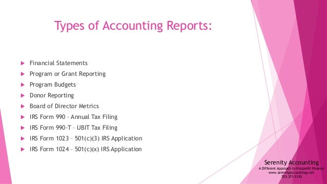 Nonprofit Accounting and Form 990 Overview – Accounting Form