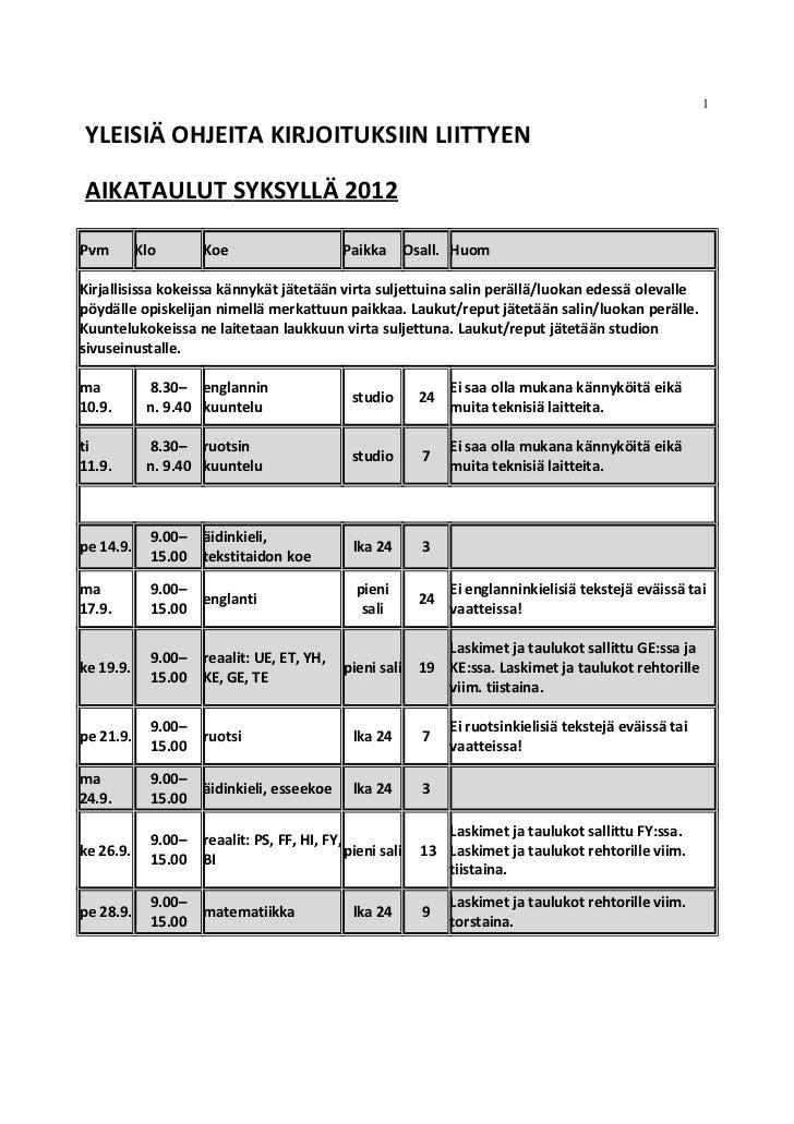1YLEISIÄ OHJEITA KIRJOITUKSIIN LIITTYENAIKATAULUT SYKSYLLÄ 2012Pvm        Klo       Koe                     Paikka        ...