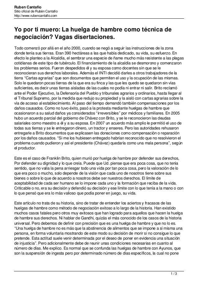 Ruben Cantafio Sitio oficial de Rubén Cantafio http://www.rubencantafio.com Yo por ti muero: La huelga de hambre como técn...
