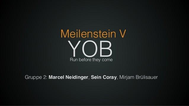 Gruppe 2: Marcel Neidinger, Sein Coray, Mirjam Brülisauer YOB Meilenstein V Run before they come