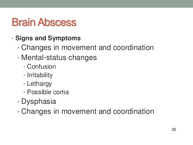 what are symptoms of a brain infection