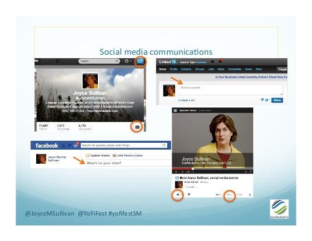 Social  media  communica-ons   @JoyceMSullivan    @YoFiFest  #yofifestSM