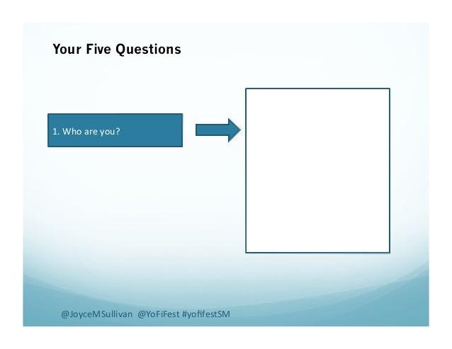 Your Five Questions 1.  Who  are  you?   @JoyceMSullivan    @YoFiFest  #yofifestSM