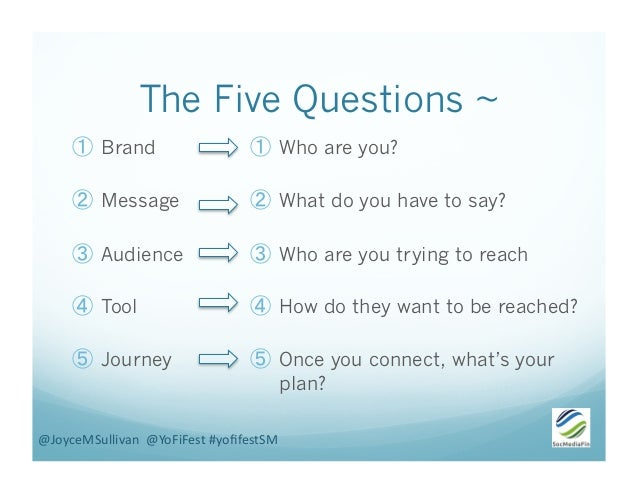 The Five Questions ~ ① Brand ② Message ③ Audience ④ Tool ⑤ Journey ① Who are you? ② What do you have to say? ③ Who...