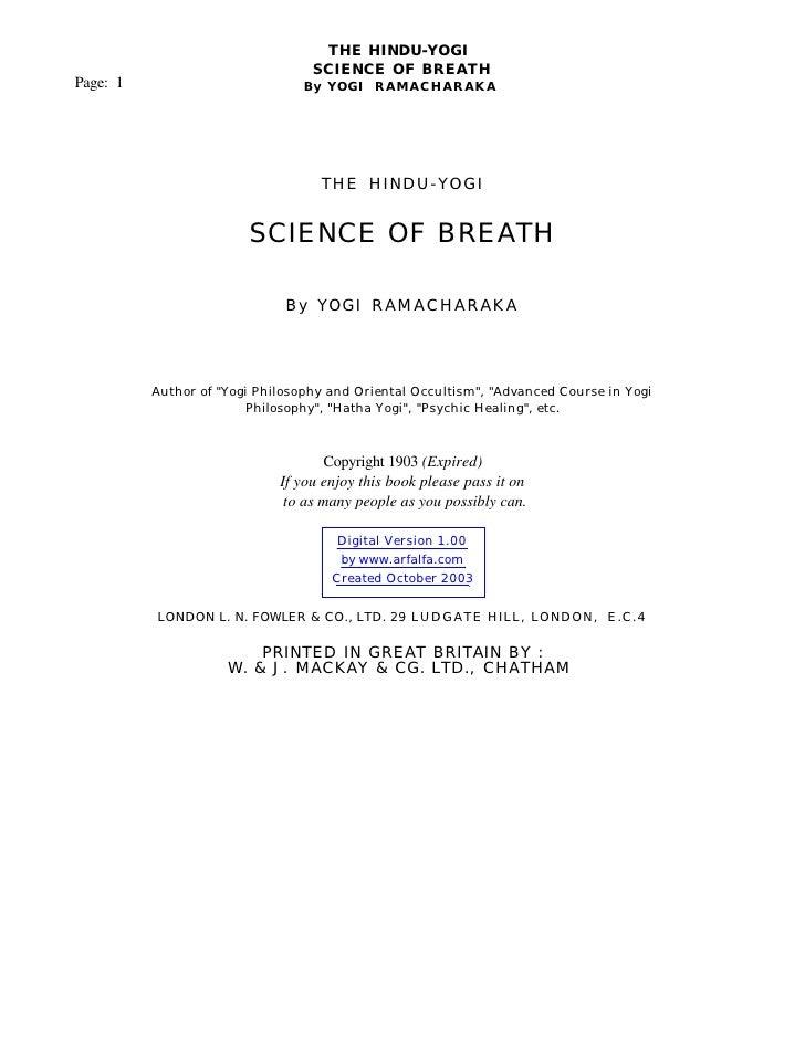 THE HINDU-YOGI                                   SCIENCE OF BREATH Page: 1                          By YOGI RAMACHARAKA   ...