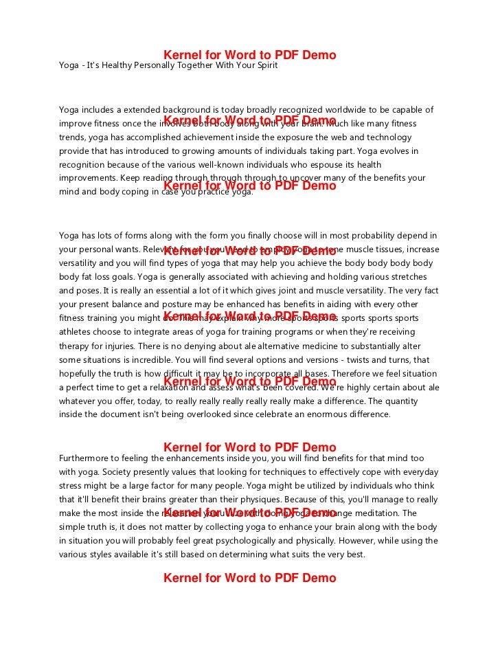 Kernel for Word to PDF DemoYoga Its Healthy Personally Together With Your SpiritYoga includes a extended background is tod...
